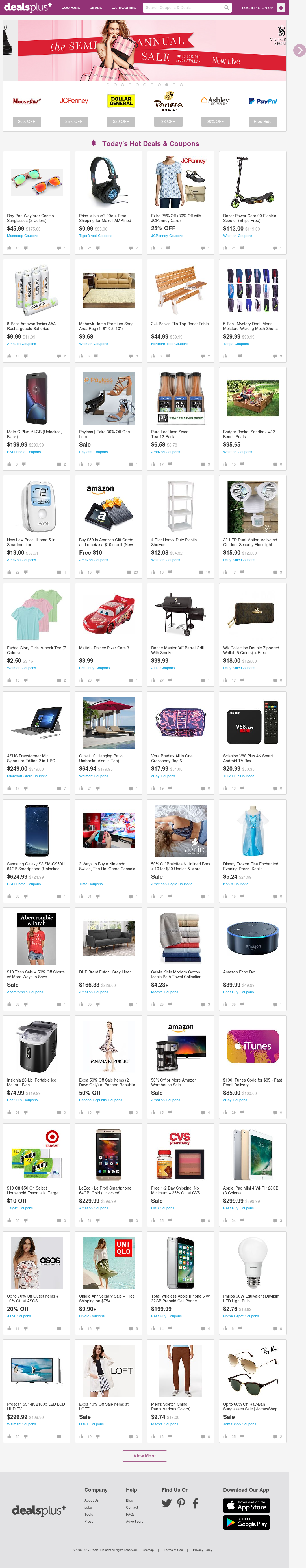 dealsplus coupon codes promos deals discounts and printable couponss website screenshot on