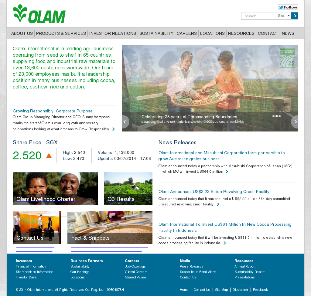 olam international The project is adb's first non-sovereign assistance directly co-financed by jica, which will lend $75 million to café outspan vietnam limited and farmers to.