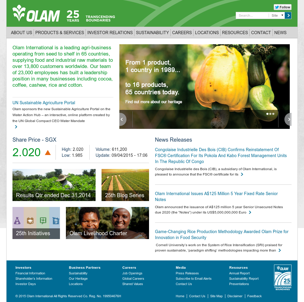 olam international Olam international is a leading agri-business operating from seed to shelf in 70 countries, supplying food and industrial raw materials to over 16,200 customers.