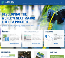 Bacanora Minerals website history