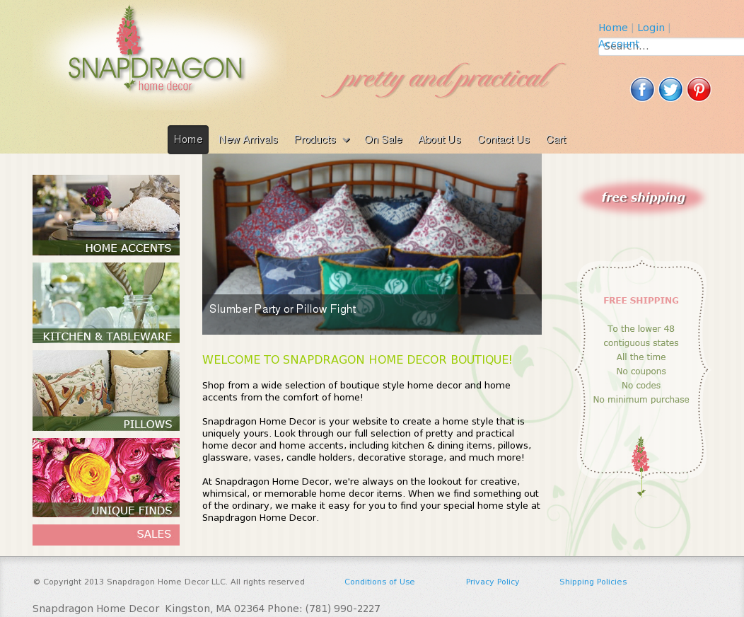 Snapdragon Home Decor Website History