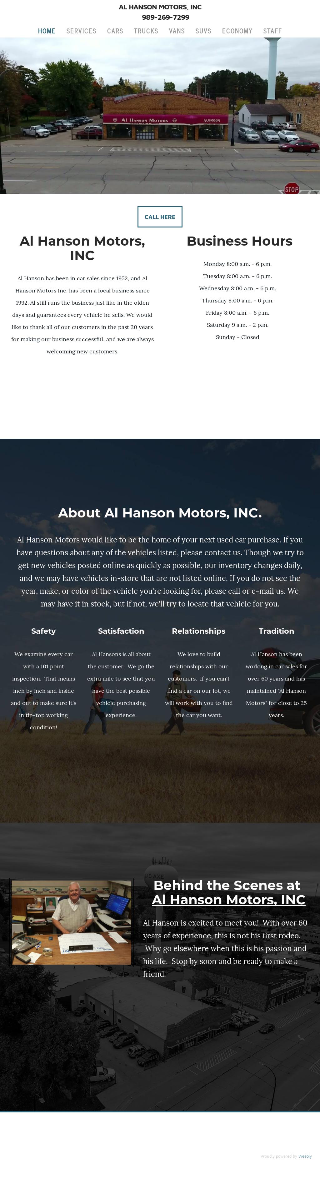 Al Hanson Motors website history