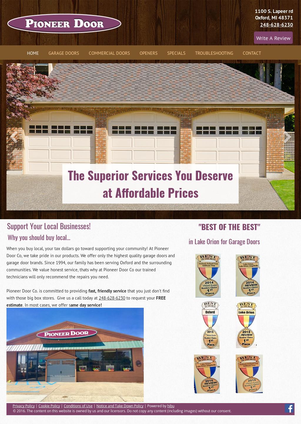 Pioneer Door Co Website History