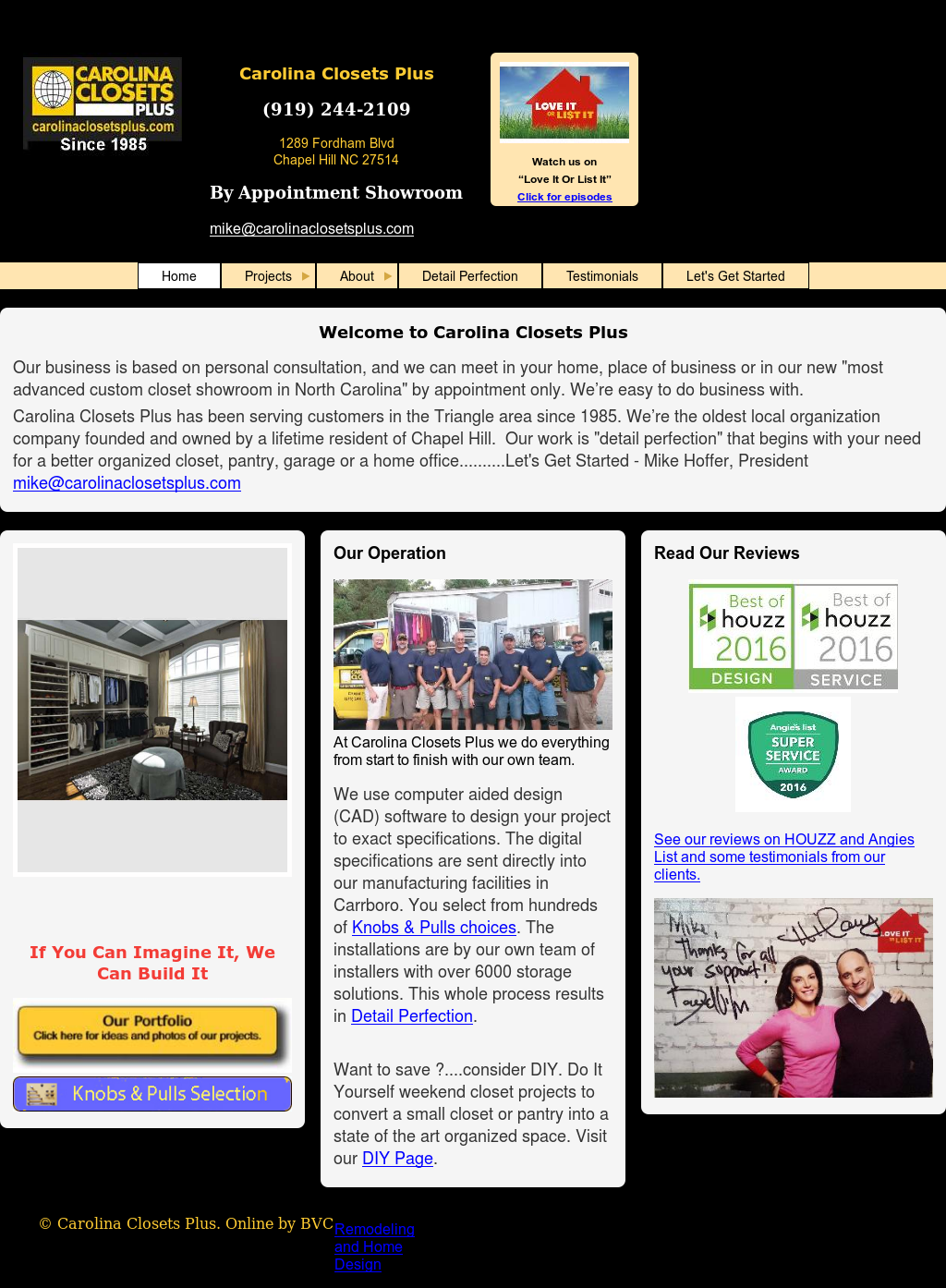 Carolina Closets Plus Website History