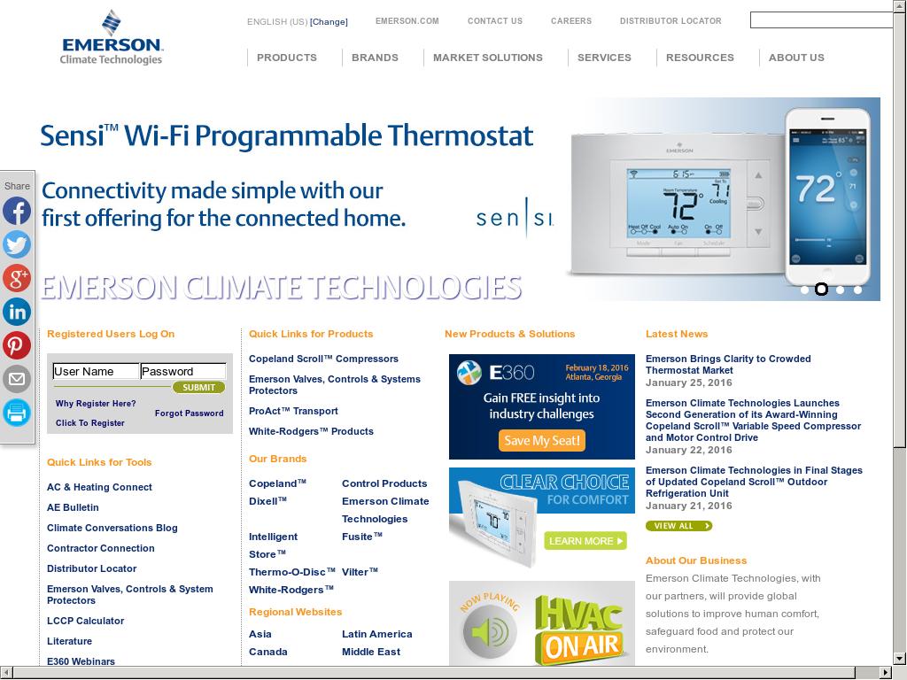 Emerson Climate Technologies Competitors, Revenue and
