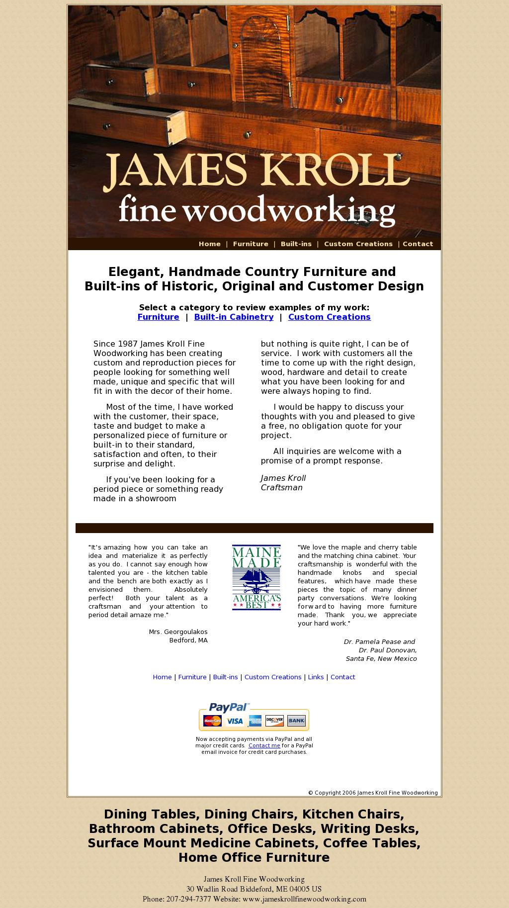 James Kroll Fine Woodworking Website History