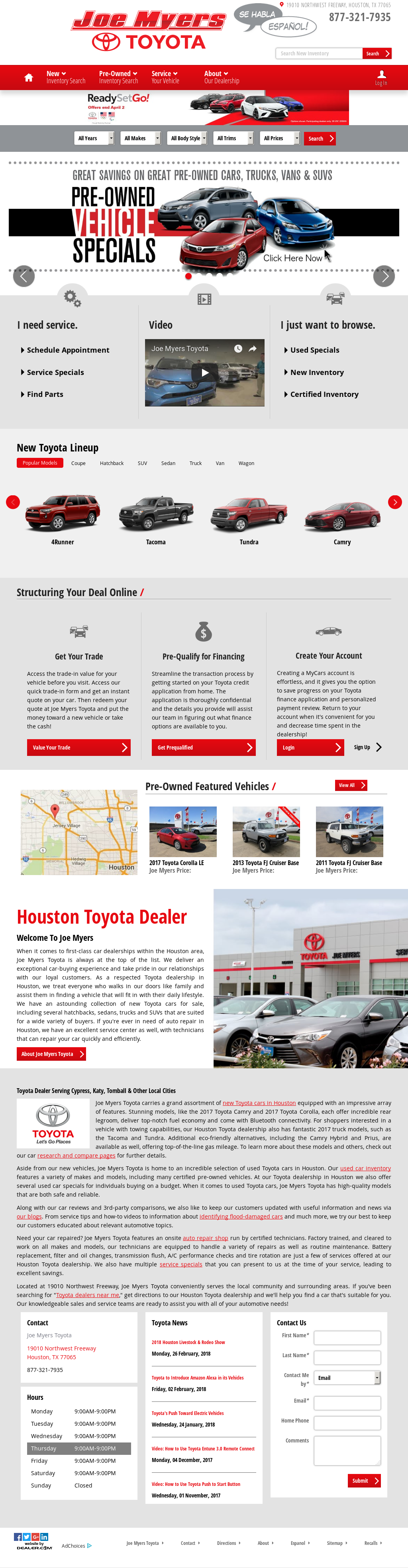 Joe Myers Toyota Website History