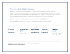 American Blue Ribbon Holdings website history