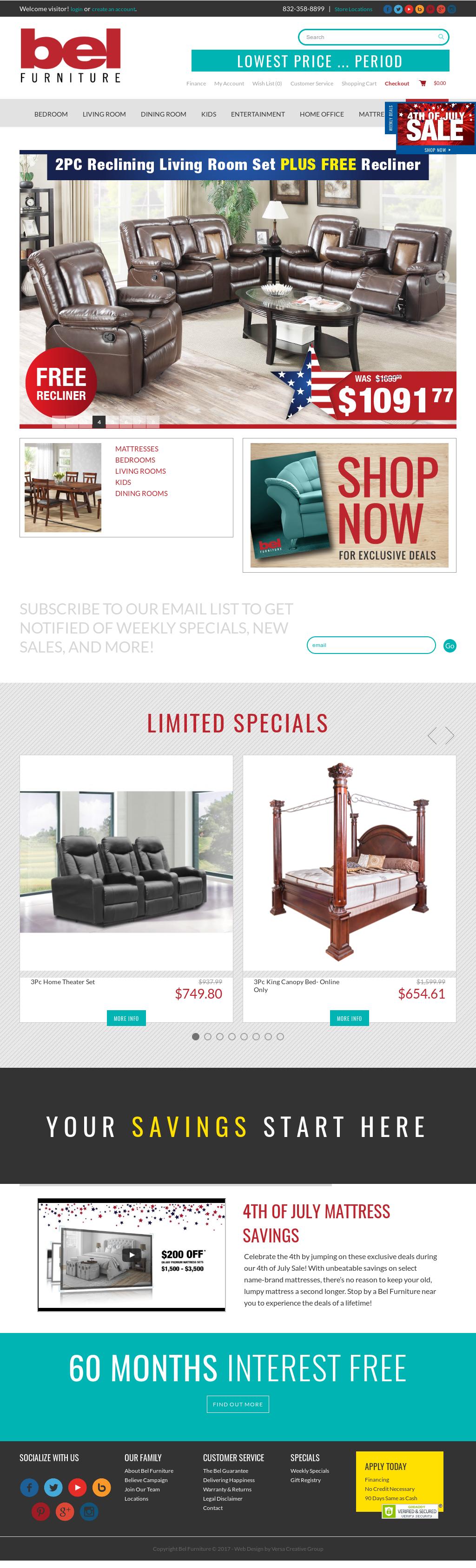 Bel Furniture Website History