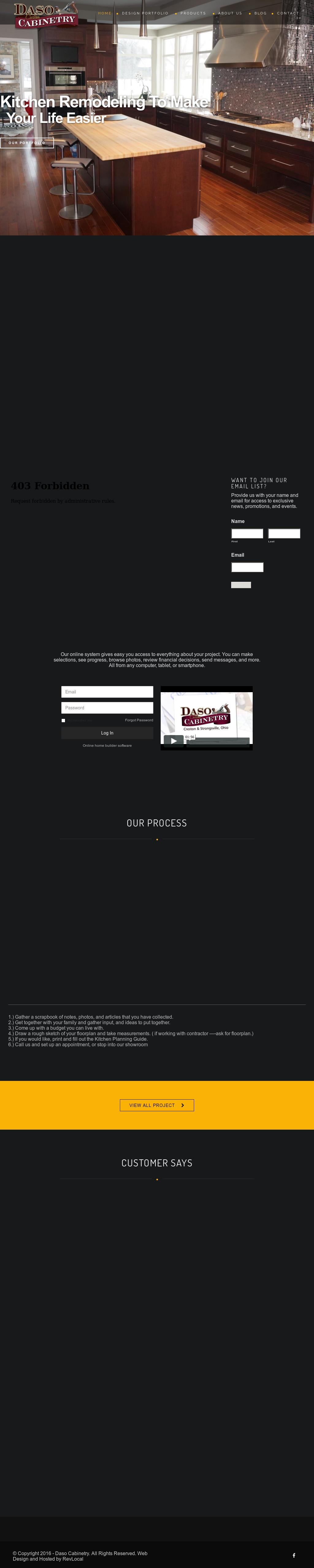 dasos custom cabinetry website history