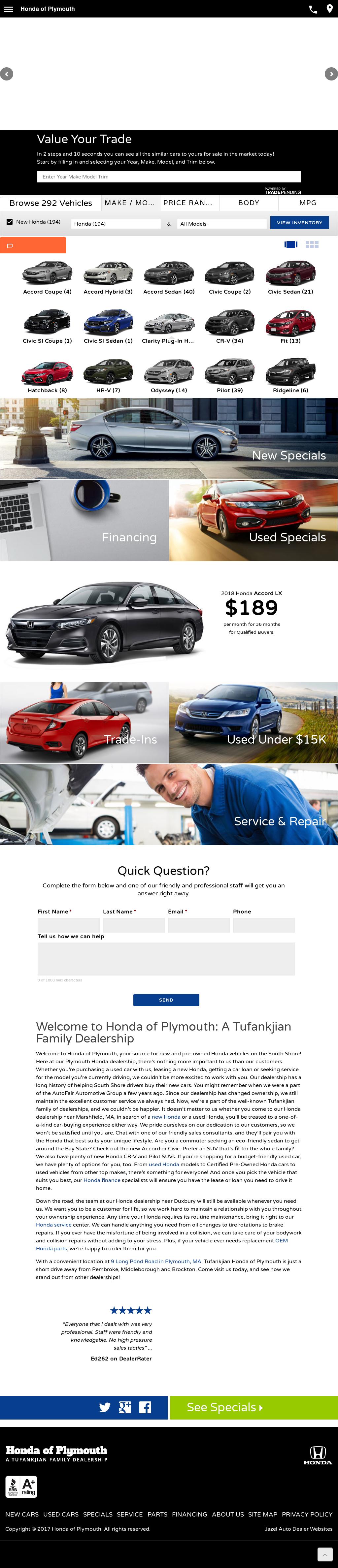 AutoFair Honda Of Plymouth Website History