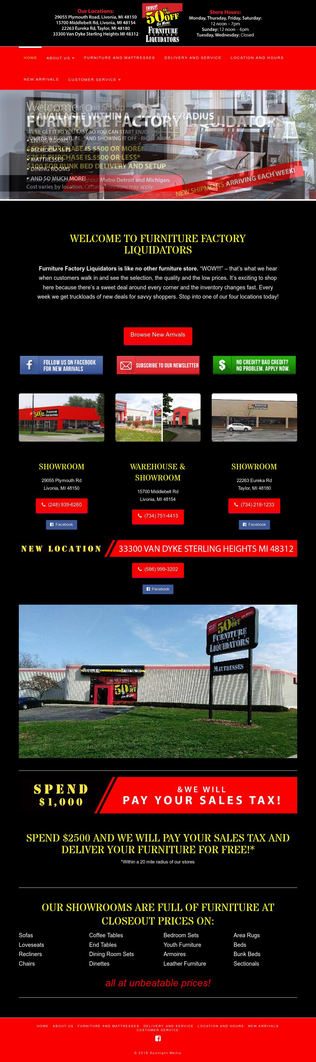 Furniture Factory Liquidators Website History