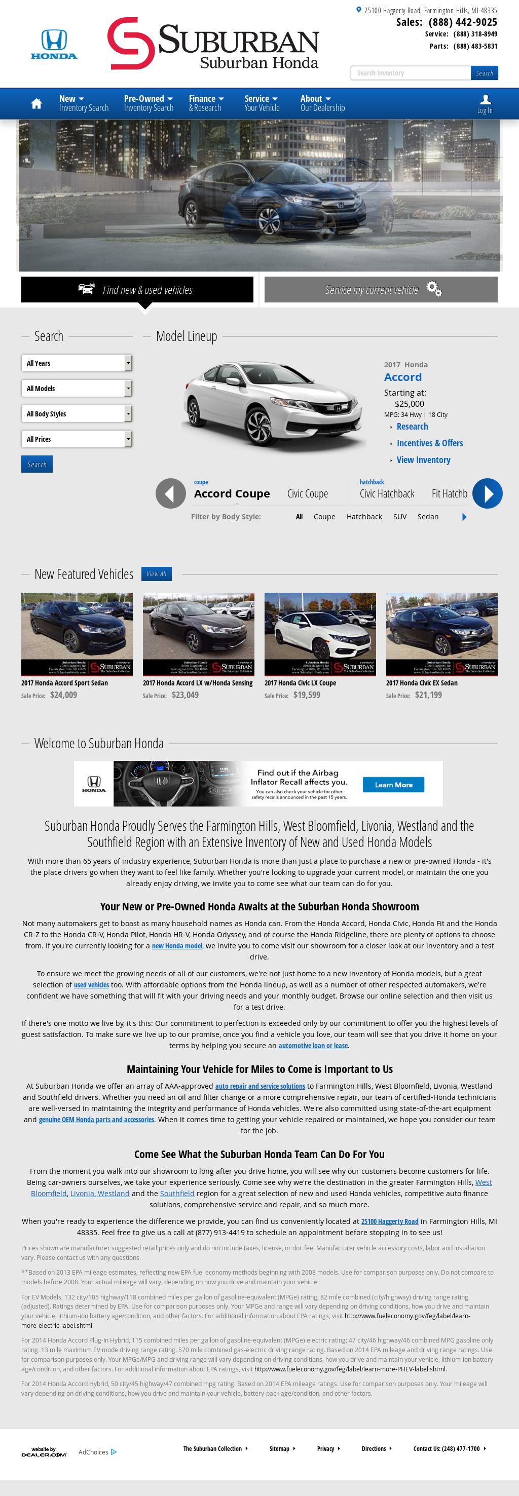 Suburban Honda Website History