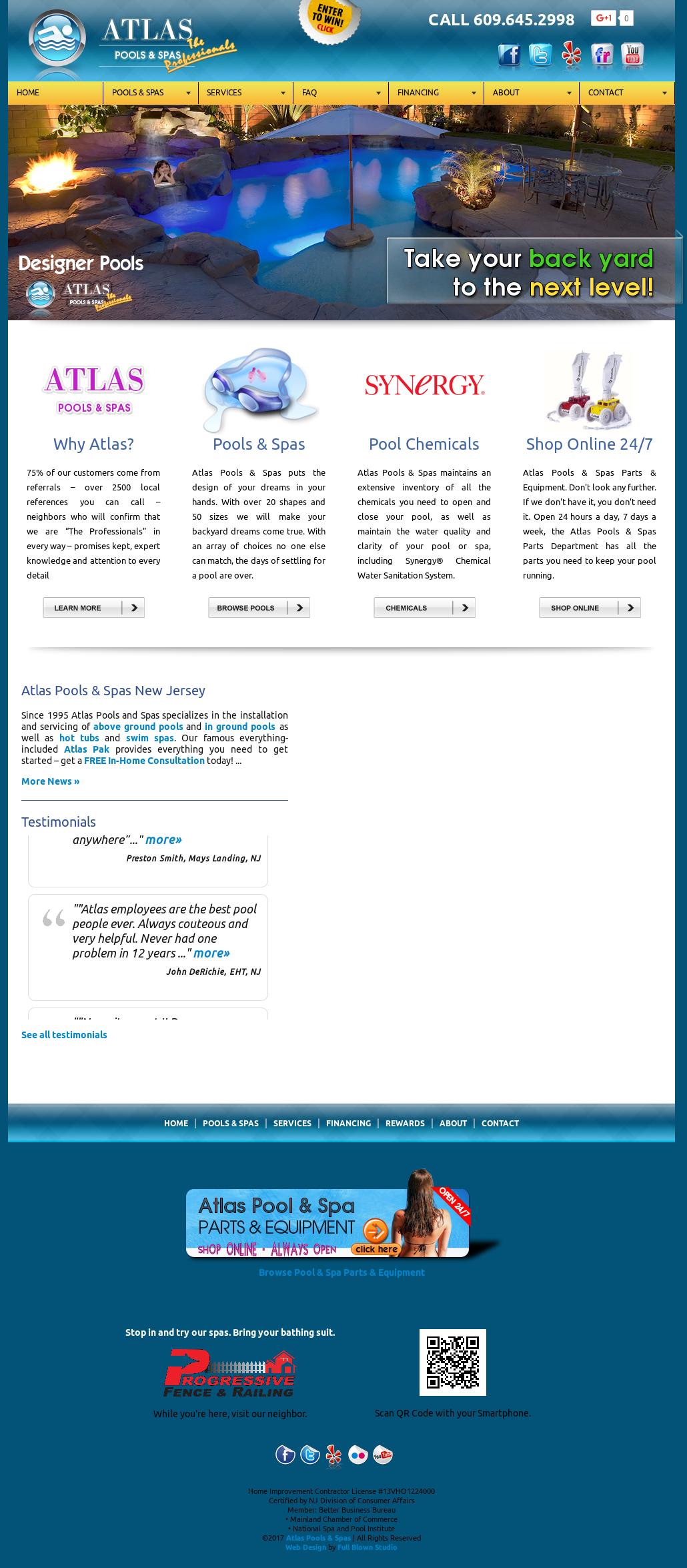 Atlas Pools Spas Website History