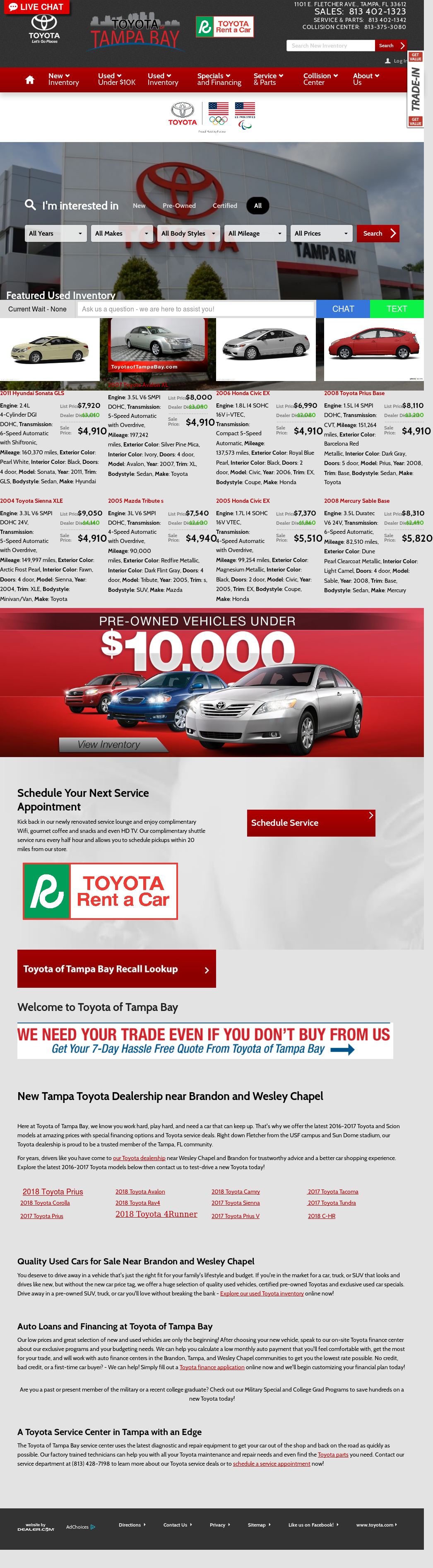 Toyota Of Tampa Bay Website History