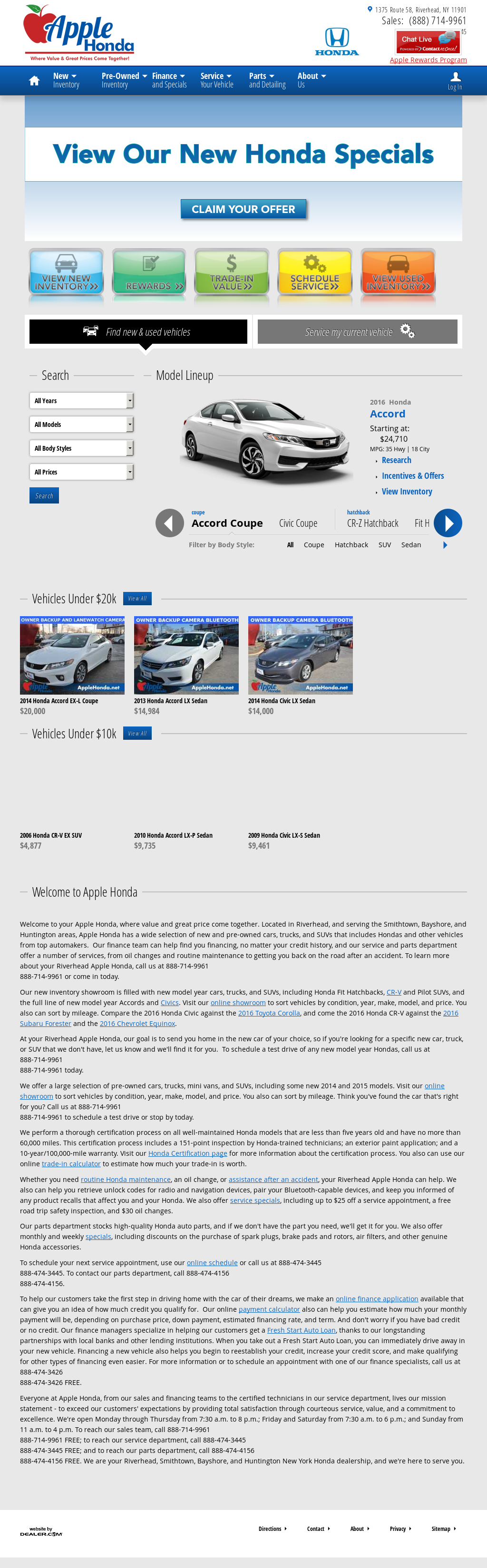 Apple Honda Website History