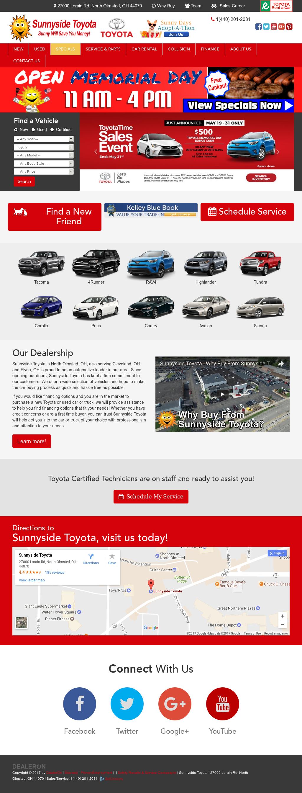 Sunnyside Toyotau0027s Website Screenshot On May 2017