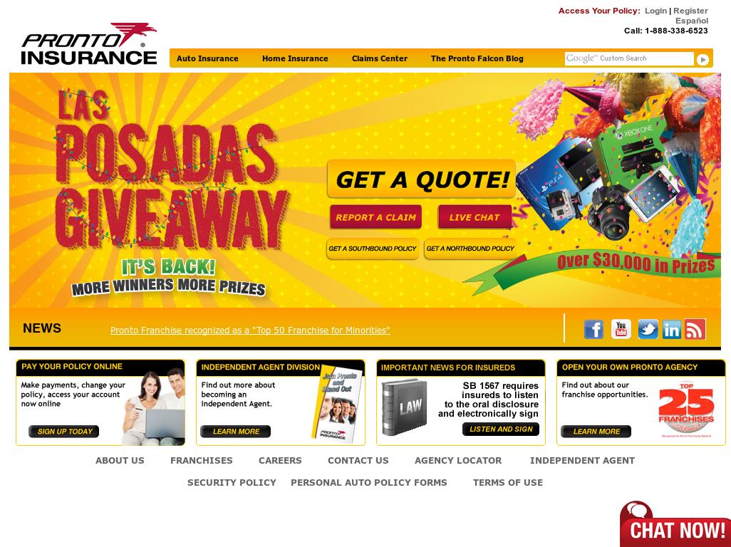 pronto insurance website history