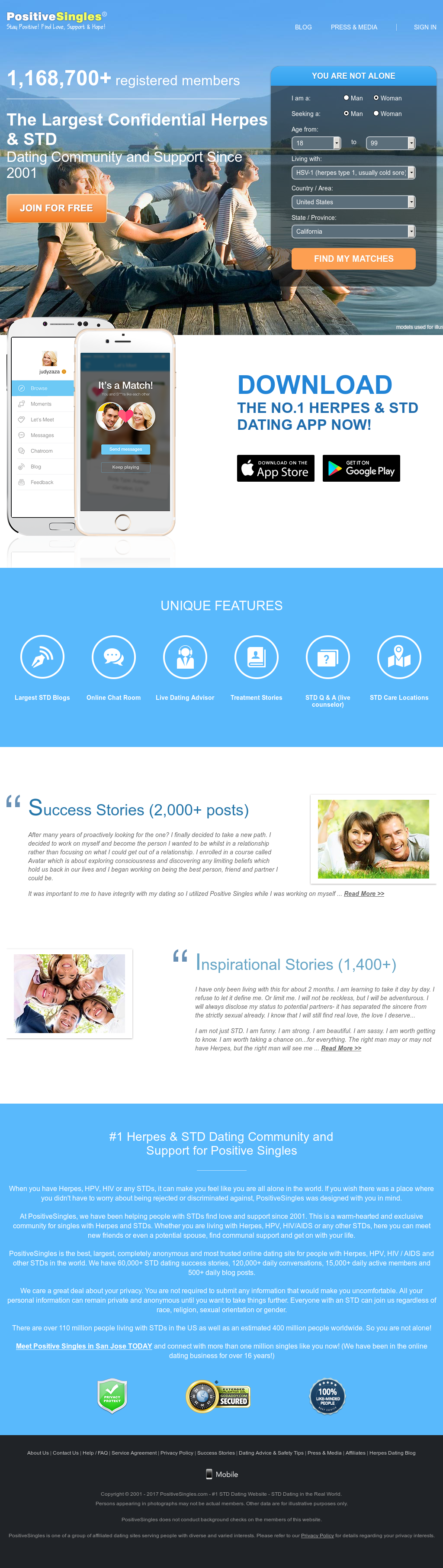 positive singler dating app webside med blå match dating