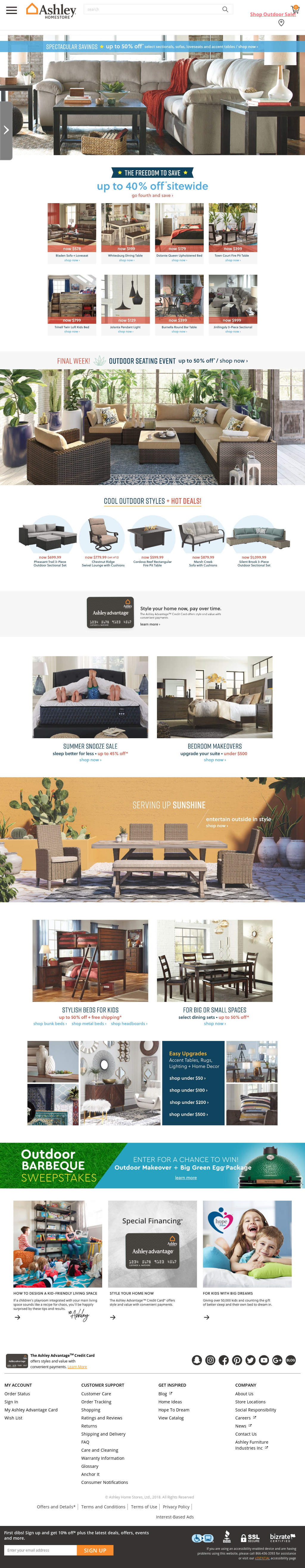 Ashley Furniture Home Website History