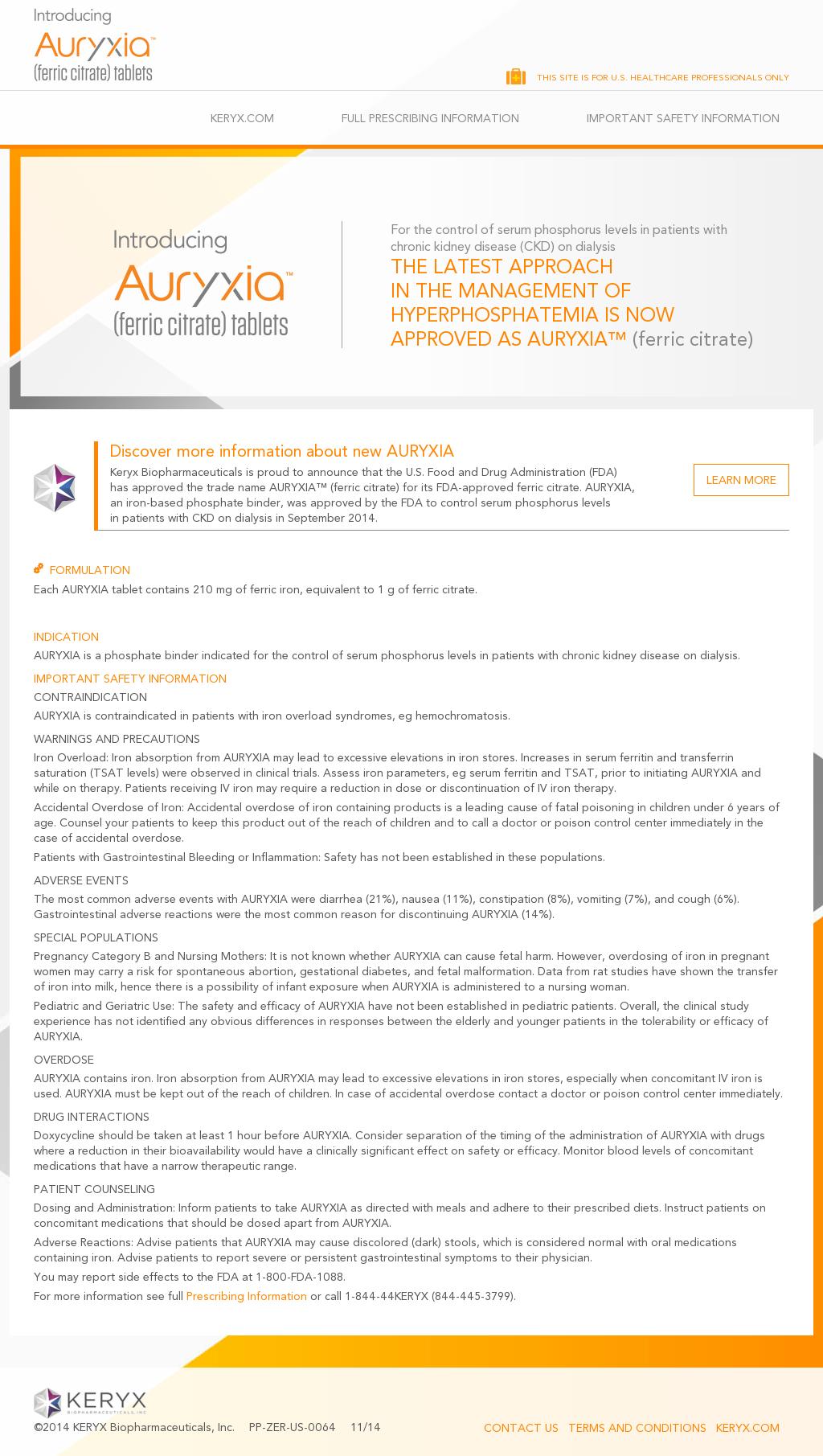 Owler Reports Press Release Auryxia Keryx