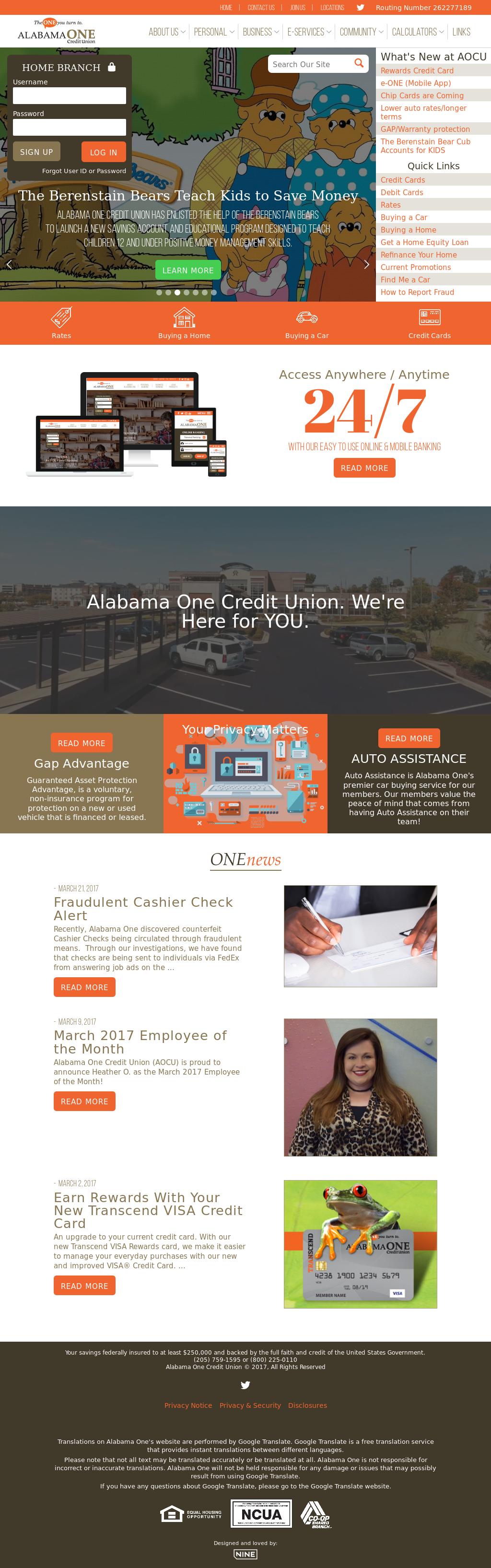 Alabama one credit union phone number