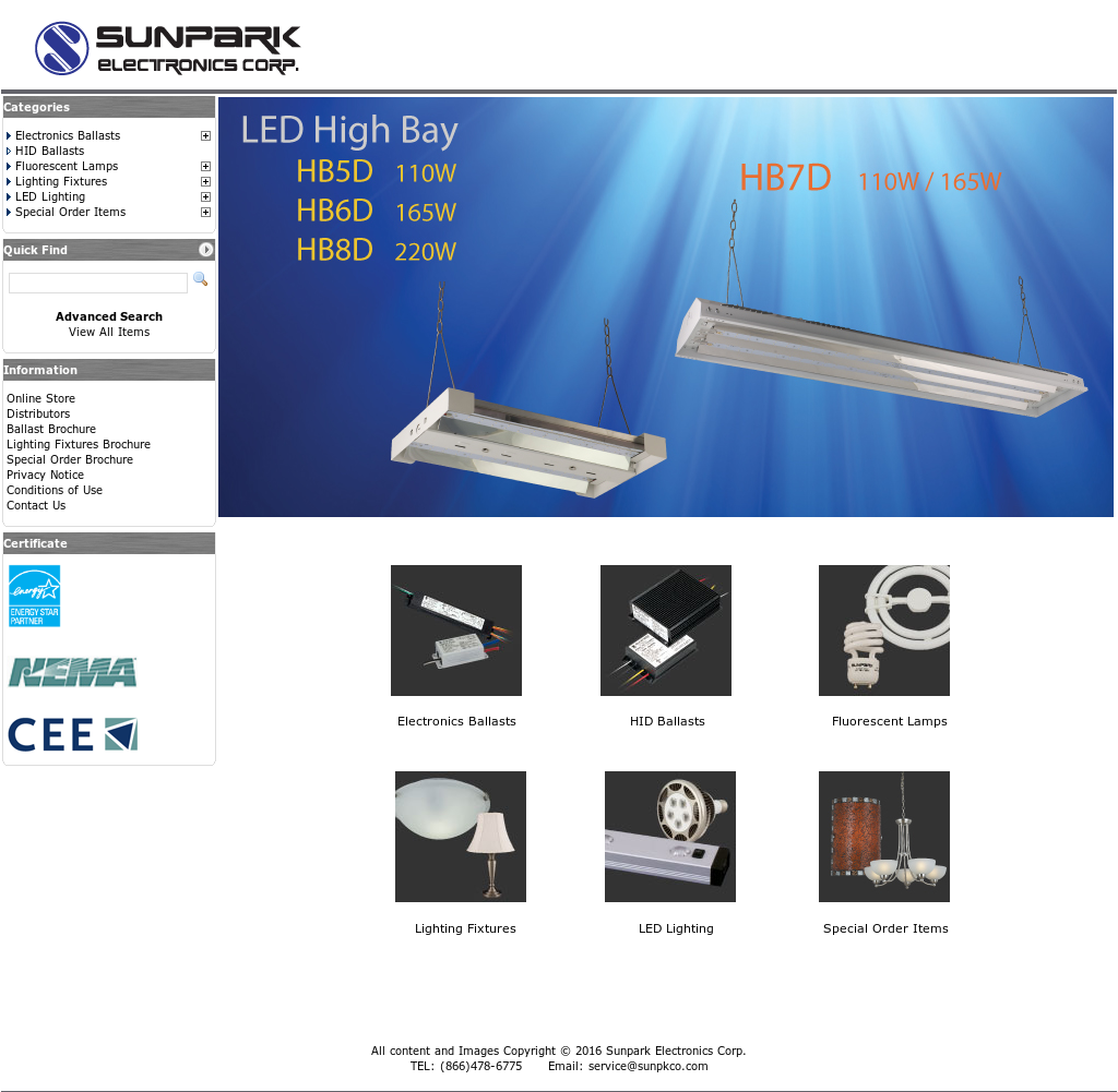 Sunpark Electronics Website History