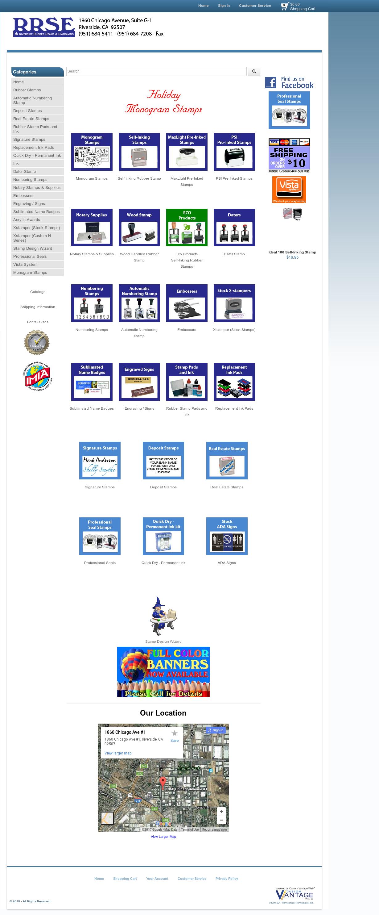 Riverside Rubber Stamps Website Screenshot On Nov 2017