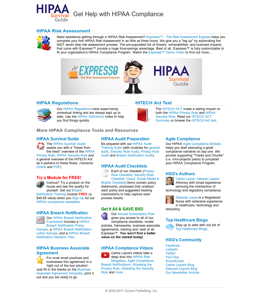 Owler Reports - HIPAA Survival Guide: 3Lions Publishing Inc