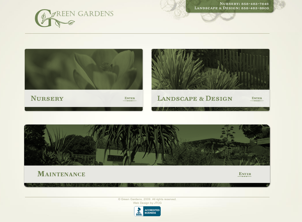 Green Gardens Landscape Website History