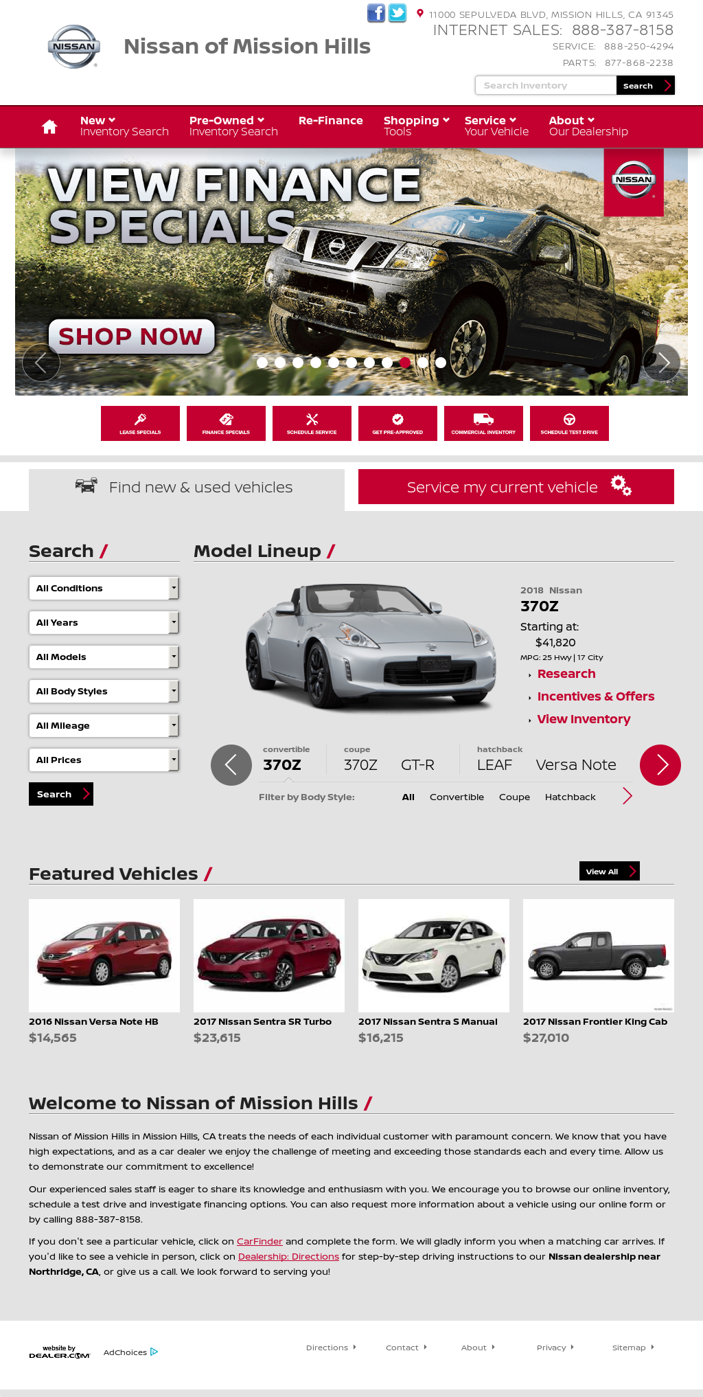Nissan Of Mission Hills Website History