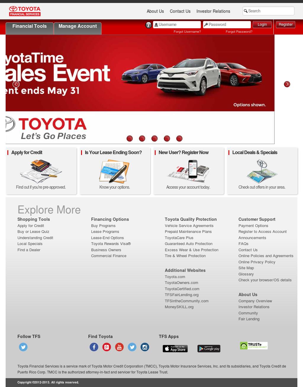 Toyota Financial Servicesu0027s Website Screenshot On May 2017