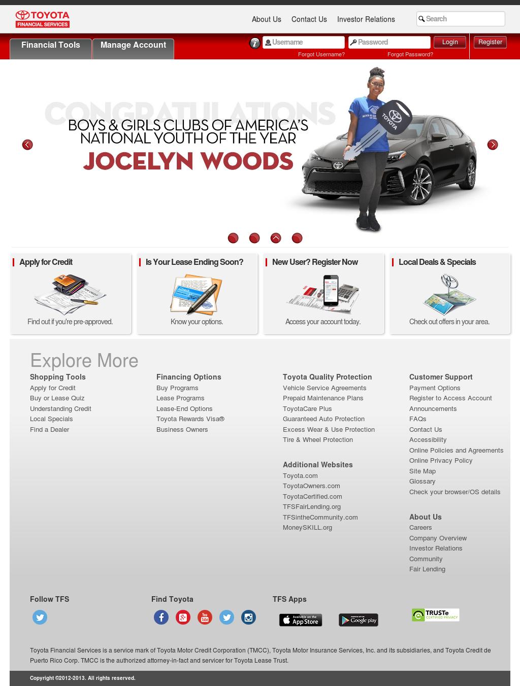 Toyota Financial Servicesu0027s Website Screenshot On Sep 2017