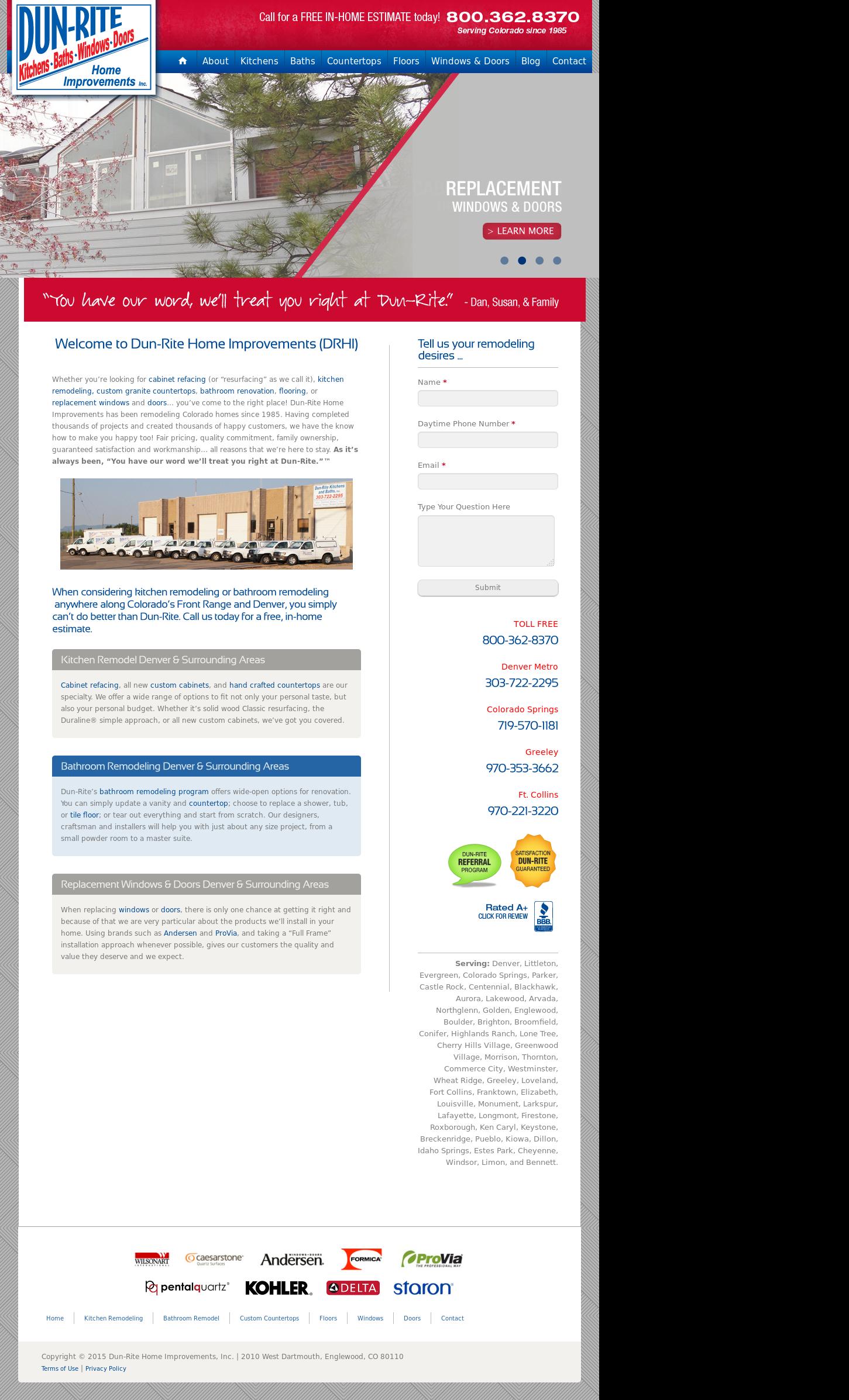 Dun Rite Home Improvements Website History