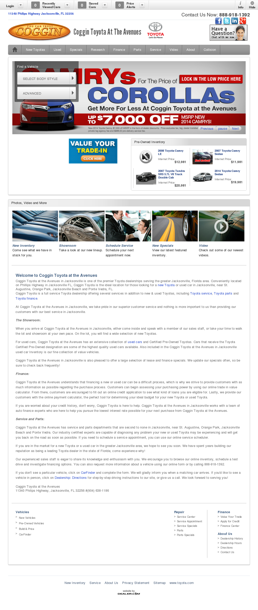 Coggin Toyota Of The Avenues Website History