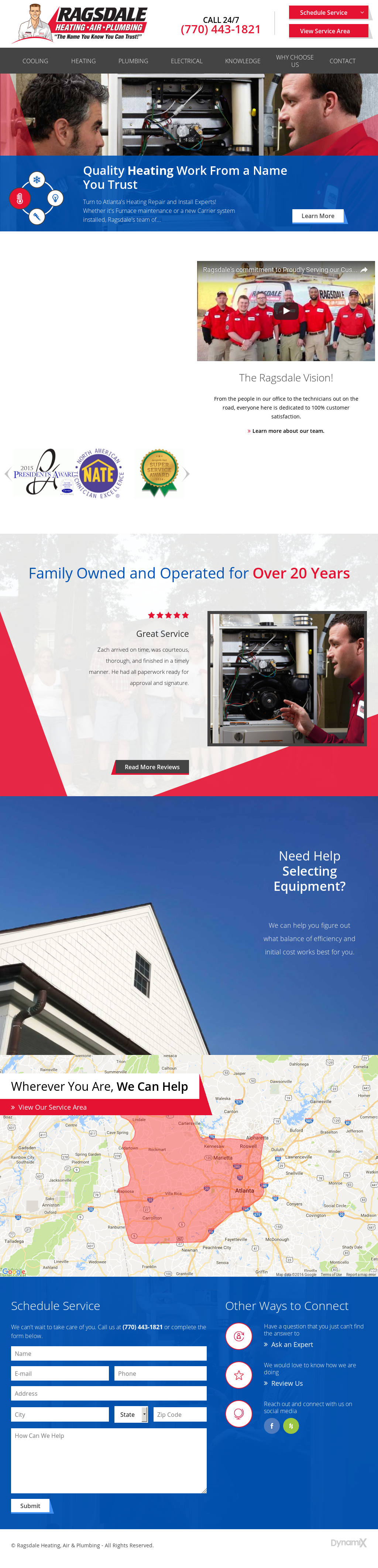 Ragsdale Heating Air Conditioning Website History