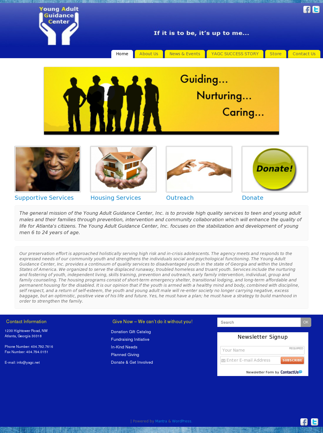 Web site for young adult site, with