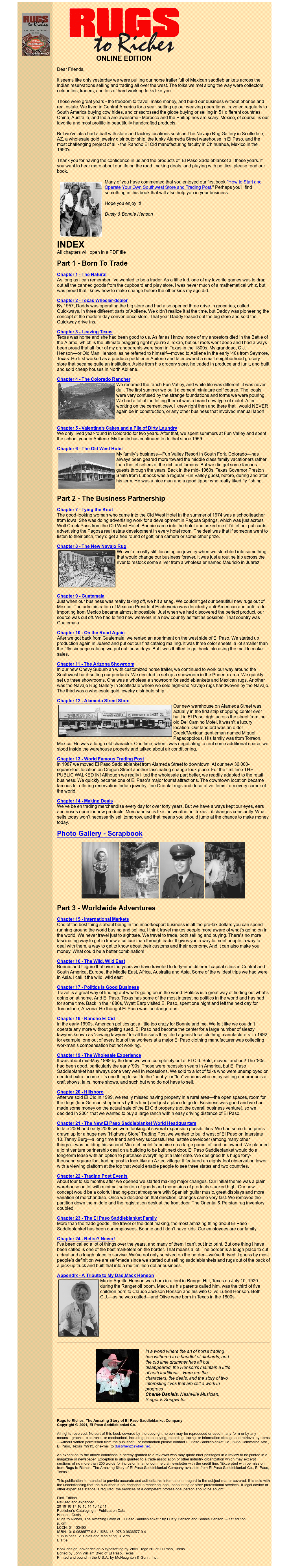 Rugs To Riches Book Website History