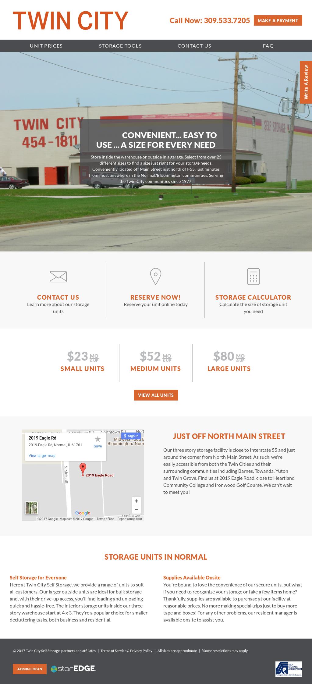 Twin City Self Storage Website History