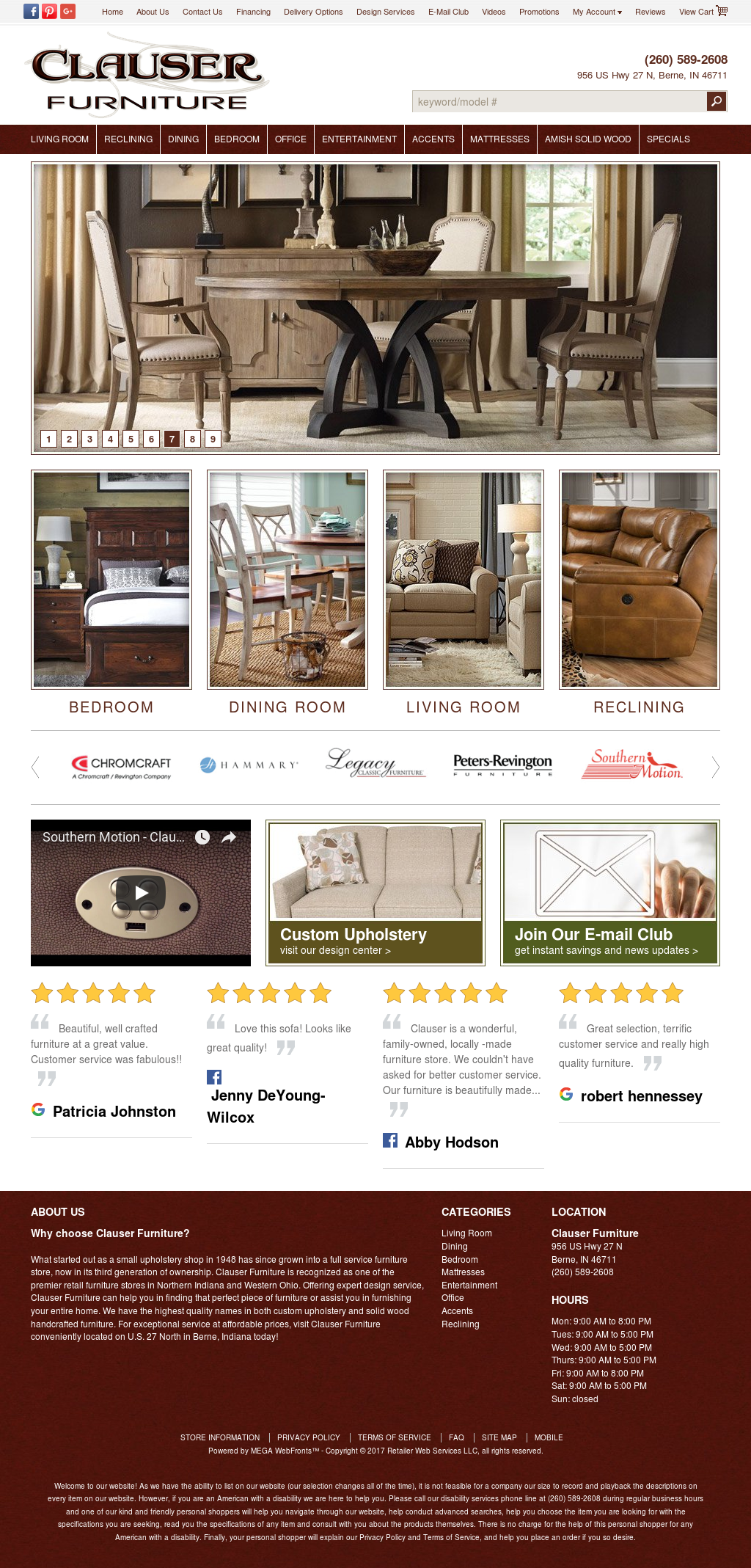 Clauser Furniture Website History