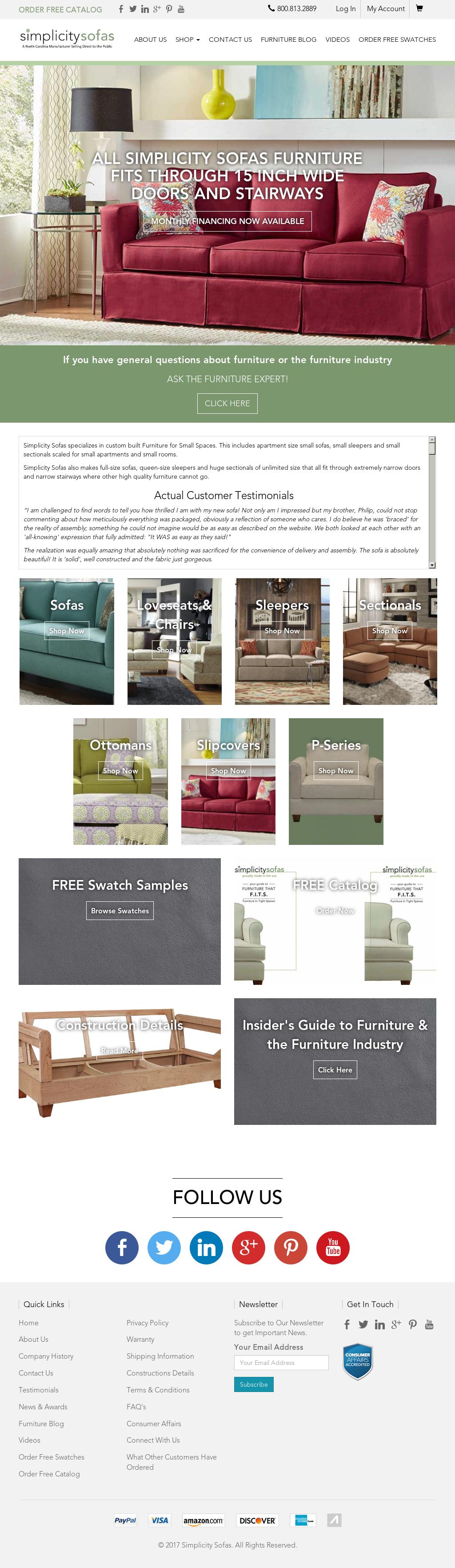 Simplicity Sofas Website History