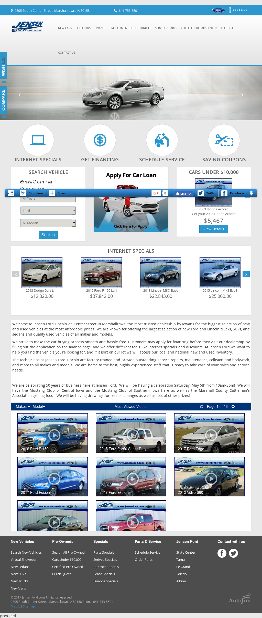 Jensen ford lincoln mercury website history