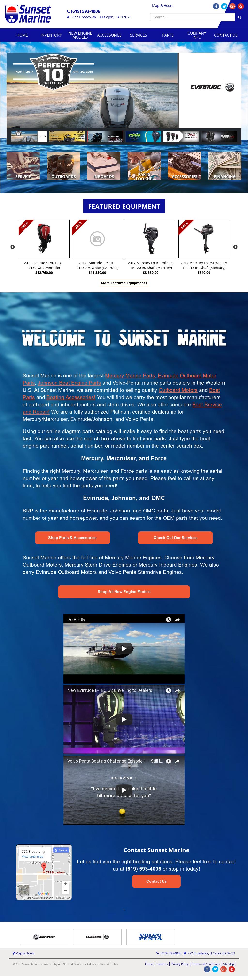 Kelly Sunset Marine Website History