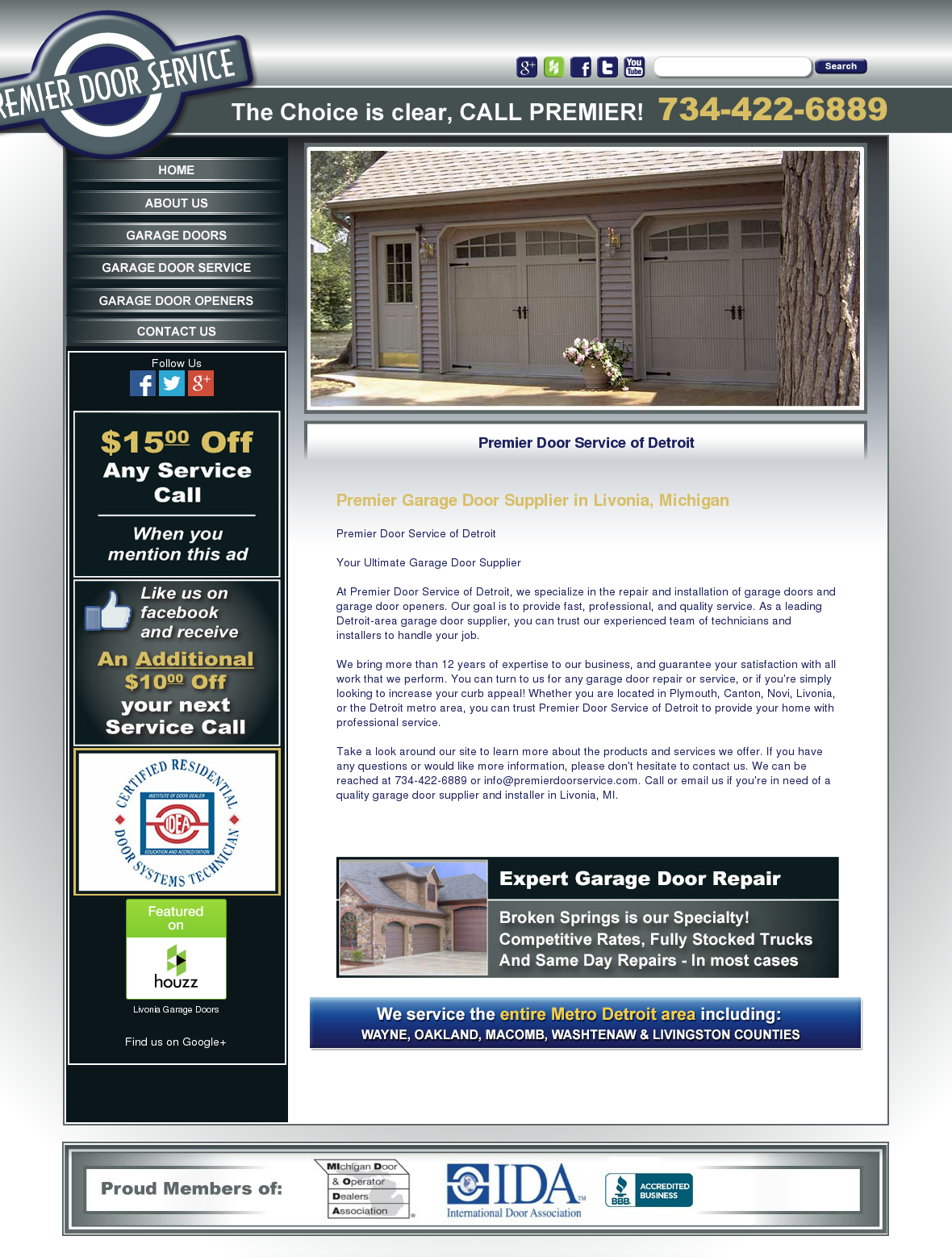 Premier Door Service Website History