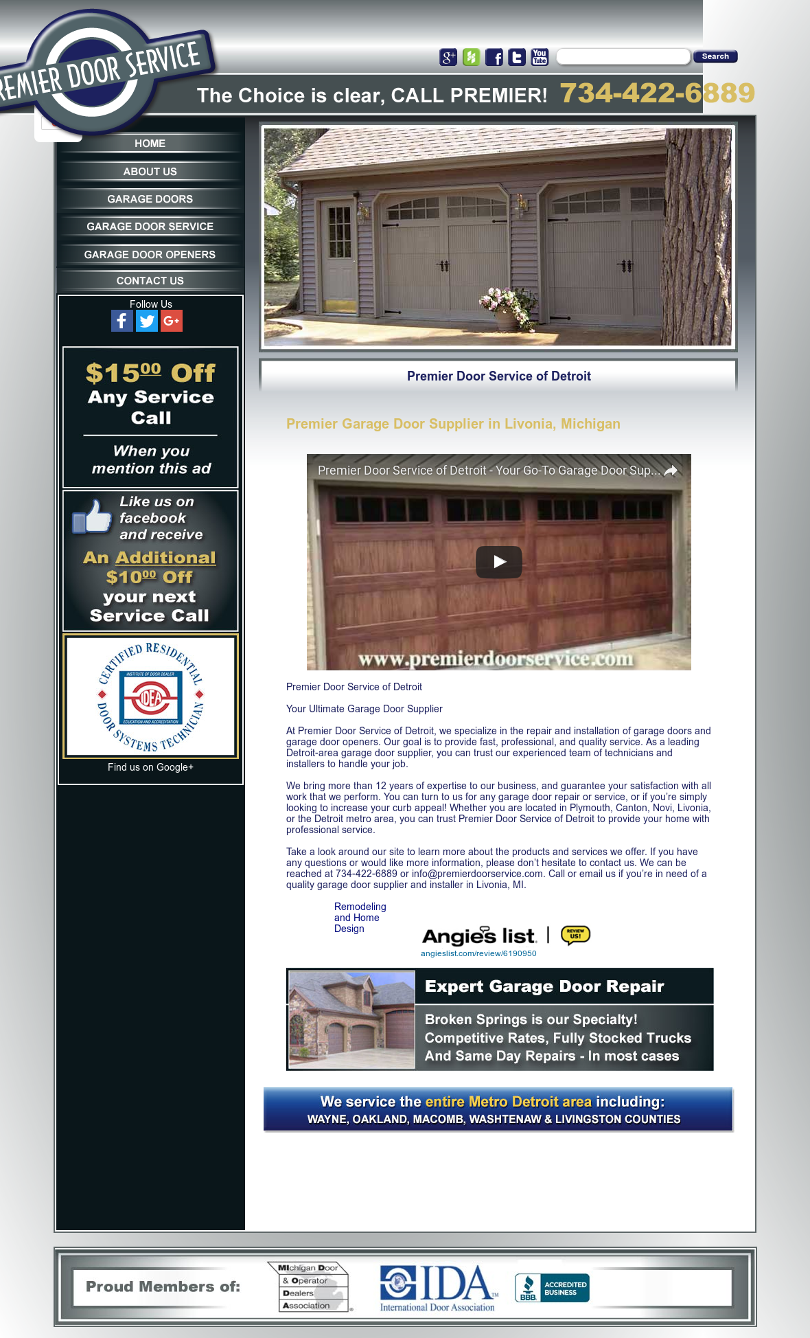 Lovely Premier Door Service Website History