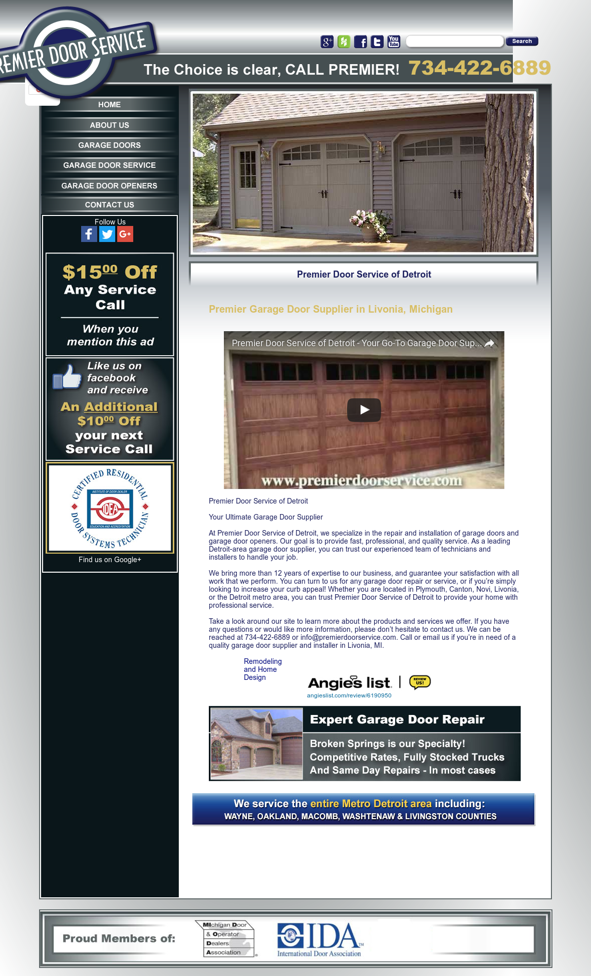 Charmant Premier Door Service Website History
