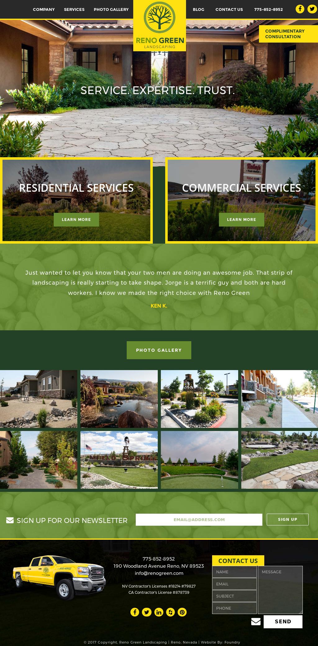 Reno Green Landscaping's website screenshot on May 2017 - Reno Green Landscaping Competitors, Revenue And Employees - Owler
