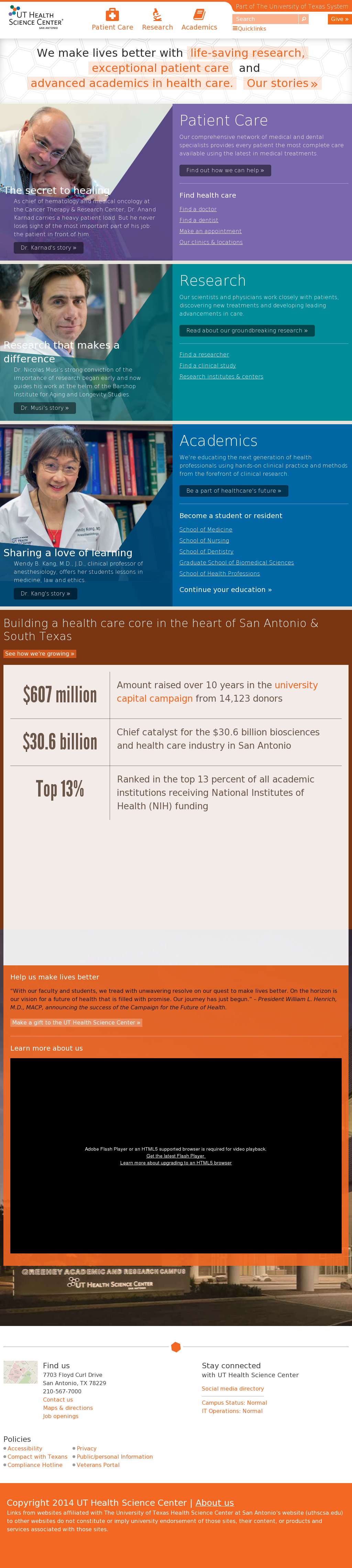 UT Health Science Center Competitors, Revenue and Employees