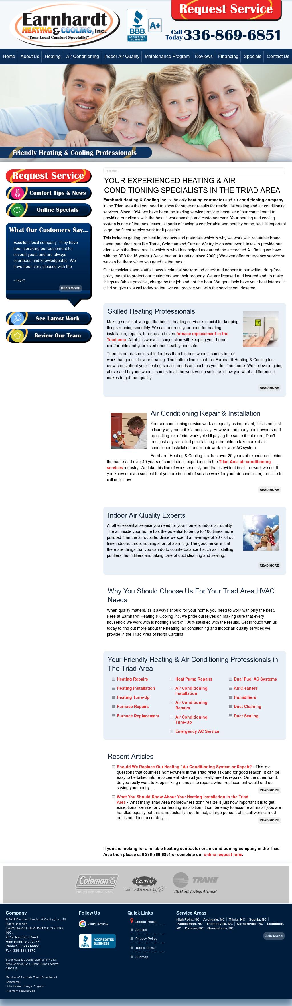 Earnhardt Heating Cooling Website History