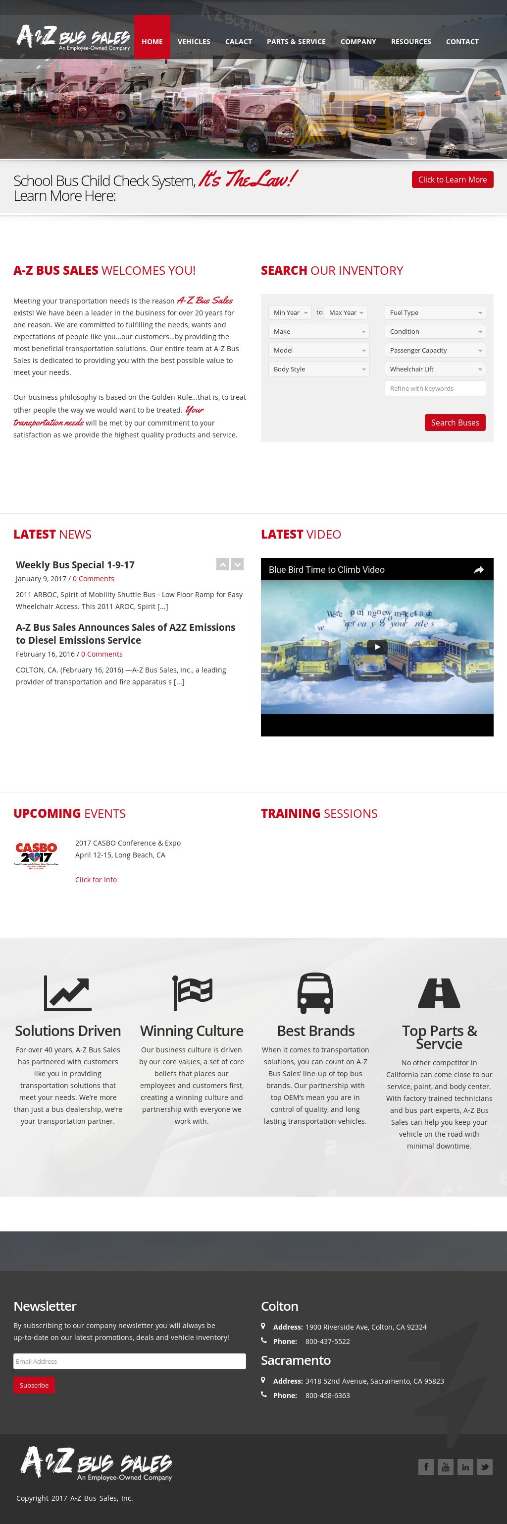 A-Z Bus Sales's website screenshot on Jun 2017